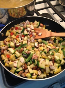 Cooking up the veggies.